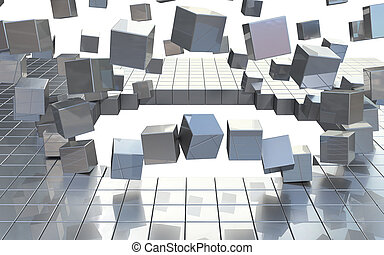 exploading building blocks - exploading shining aluminum...