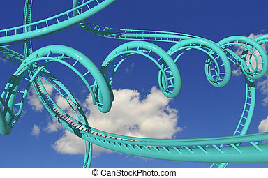 Crazy rollercoaster - crazy rollercoaster trails against...