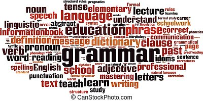 Grammar-horizon.eps - Grammar word cloud concept. Vector...