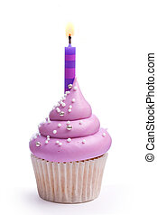 Birthday cupcake - Cupcake decorated with purple frosting...