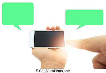 Phone in hand - to work on a smartphone with a blank screen...