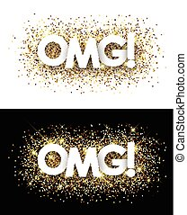 Omg paper banners. - Omg paper banners set with shining...