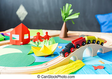 Toys in the kindergarden - Colourful toys made of paper in...