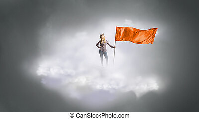 Woman with red waving flag . Mixed media - Student girl in...