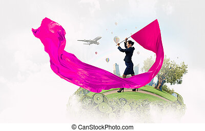 Woman waving red flag Mixed media - Determined businesswoman...