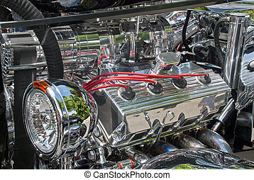 Customized engine compartment - Partial view of a 1933...