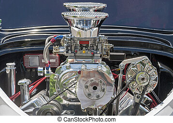 Supercharger in a rear engine - Partial view of a...