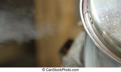 Steam from pot on stove