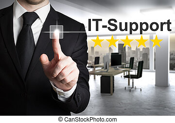 businessman pushing touchscreen button it support in modern...