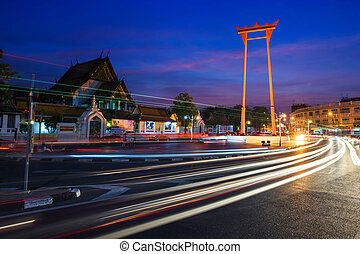 Giant Swing and wat Suthat Temple at Twilight in Bangkok, -...