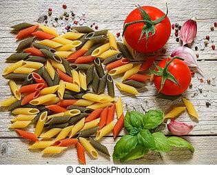 Colorful Italian raw pasta Pasta penne rigate tricolor