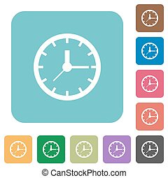 Flat clock symbol icons on rounded square color backgrounds
