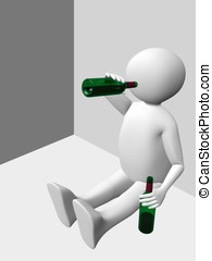 Drinking man - A man drinking from a bottle of wine