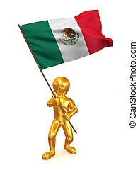 Men with flag. Mexico