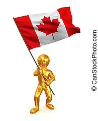 Men with flag. Canada