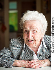 Gray-haired elderly women - Portrait of a gray-haired...