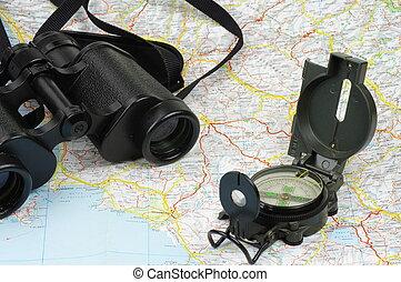 Binoculars, compass and map - Porro binoculars and military...