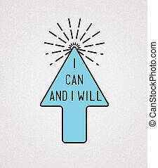 Ilustración, de motivación, voluntad, Citas, lata,...