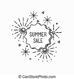 Big summer sale shining banner, colorful background in flat styl