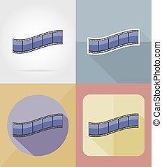 movie film flat icons vector illustration
