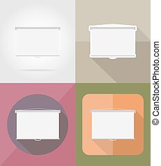 projection screen flat icons vector illustration isolated on...