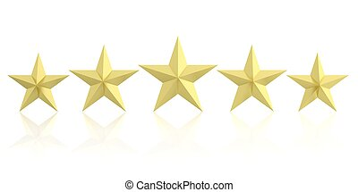 3d rendering five golden stars on white background