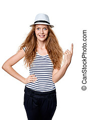 Woman pointing her finger up - Happy summer woman in white...