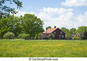 Farm in South Sweden in Spring
