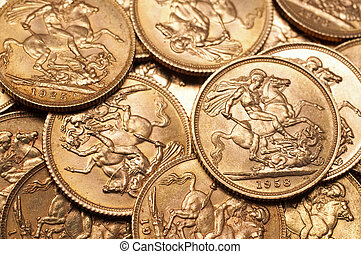 Gold sovereign coins - Background of British gold sovereign...