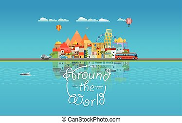 Around the world travelling concept Asia cityscape Vector...