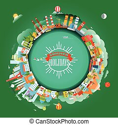 The Earth and different locations. Travel concept vector illustration. Summer holiday