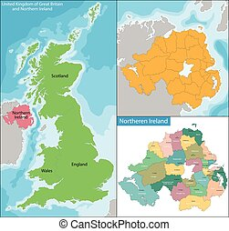Northern Ireland map - Northern Ireland is a constituent...