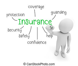 insurance text ,business man writing insurance concept ,Man...