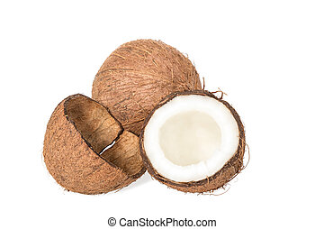 Coconut and empty shell - Half of coconut, near shell of nut...