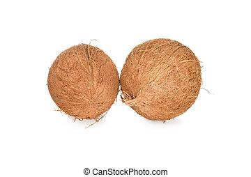 Two unbroken coconut