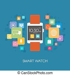 Smart watch with application icons.. Vector illustration in flat style