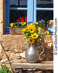 Sunflowers in Provence - bouquet of sunflowers in pewter...