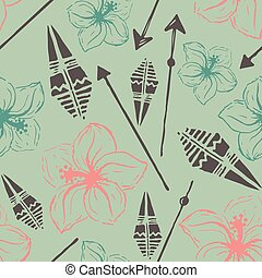 Vector seamless pattern. Universal colorful summer hawaiian flow