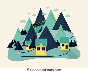 Flat eco design of abstract idyllic village on hills, rural landscape with field, house, forest, river