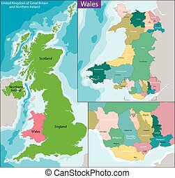 Map of Wales - Wales is a country that is part of the United...