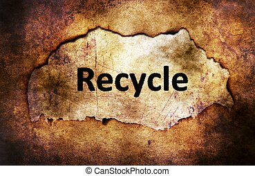 Recycle text on paper hole grunge concept
