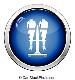 Soda siphon equipment icon. Glossy button design. Vector...