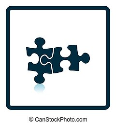 Icon of Puzzle decision Shadow reflection design Vector...