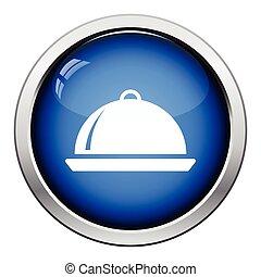 Restaurant cloche icon. Glossy button design. Vector...