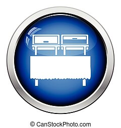 Chafing dish icon. Glossy button design. Vector...