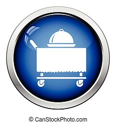 Restaurant cloche on delivering cart icon Glossy button...
