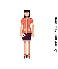 illustration isolated of European girl with dark hair, earrings, blouse, touch screen, and smartphone