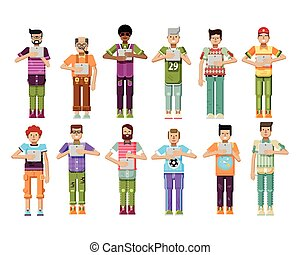 illustration isolated set of men with laptop