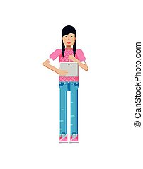 illustration isolated of European girl in pink blouse, blue...