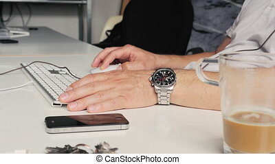 man at work in office space - Office work are sitting at...